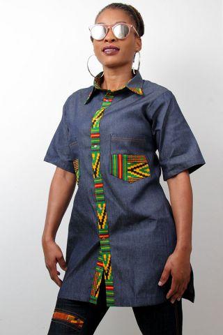 Ladies denim and kente Top modern African