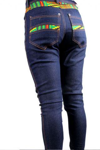 Back view African ladies Kente Jeans