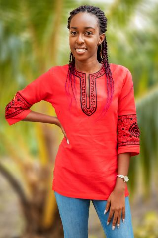In'ayah African ladies exclusive Haute Couture top featuring beautiful chain stitch hand made embroidery.