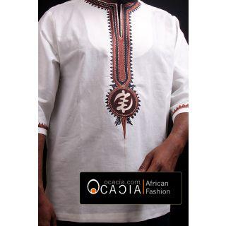 White linen men's dashiki Adinkra Chic top