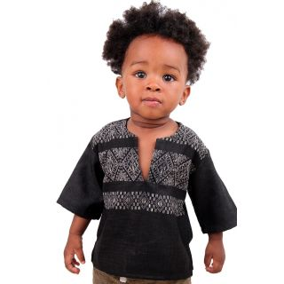 young ones in African clothes early. Rock them in some continental threads made in Africa. This black Japanese linen top comes mix with an embossed black fabric.