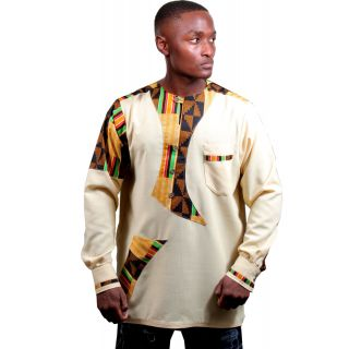 Cabral African Formal Dashiki: Linen and African Wax print