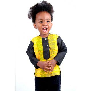 Yellow Kente Sun Top for Kids