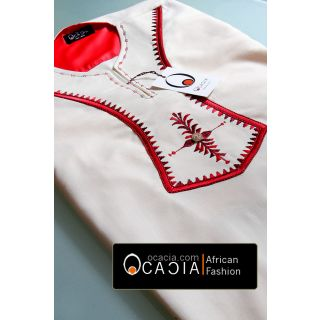 Kili red beautiful Linen embroidery shirt for men